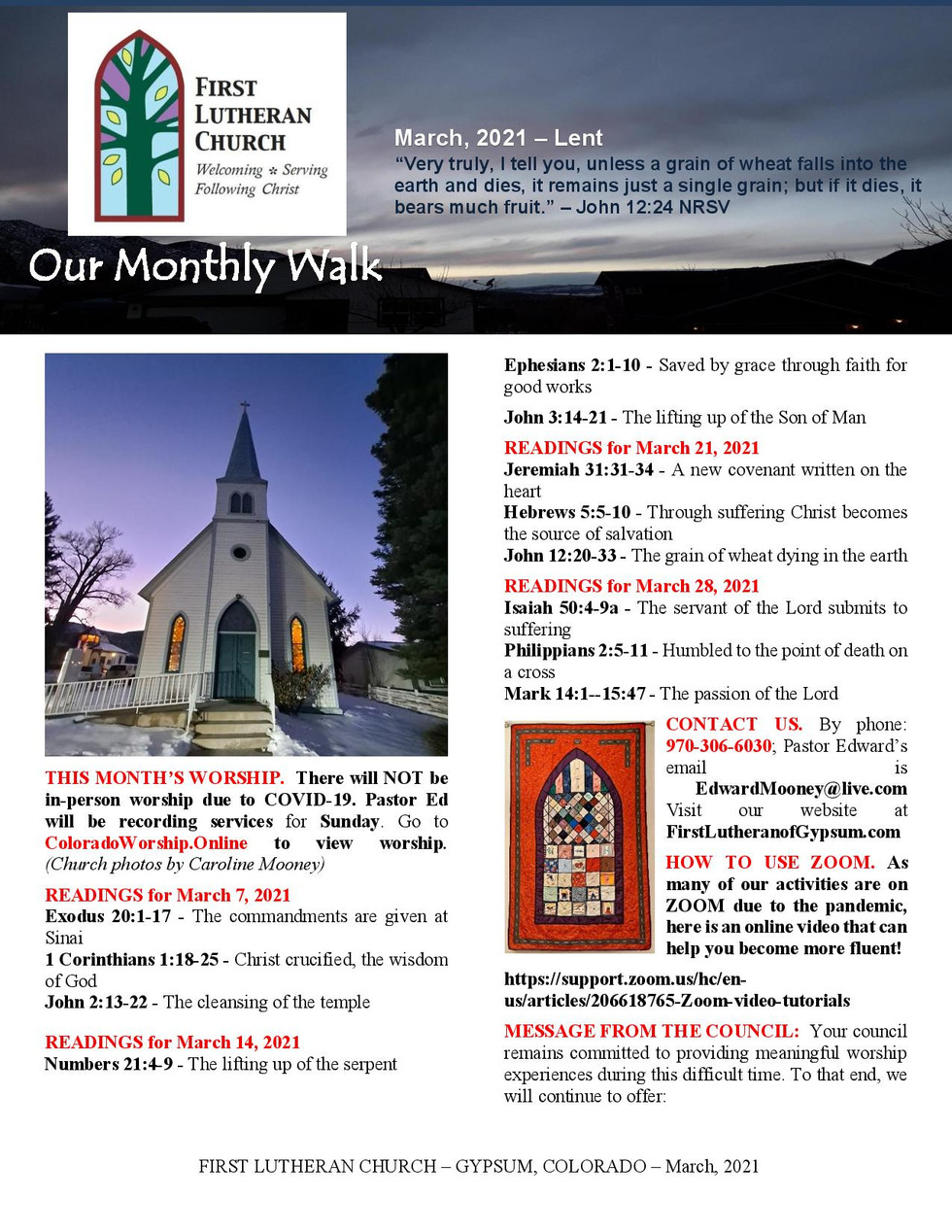 Newsletter for March, 2021. Page 1