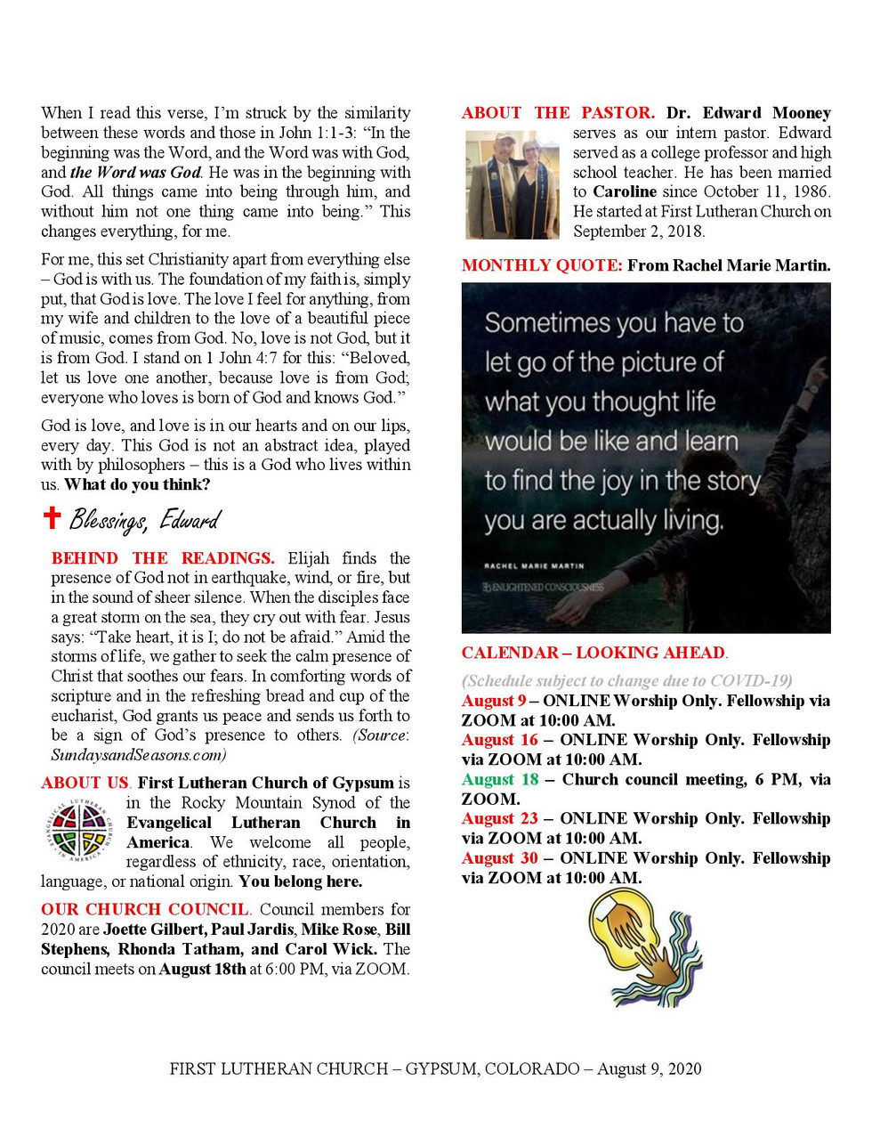 Newsletter, August 9, 2020, page 2