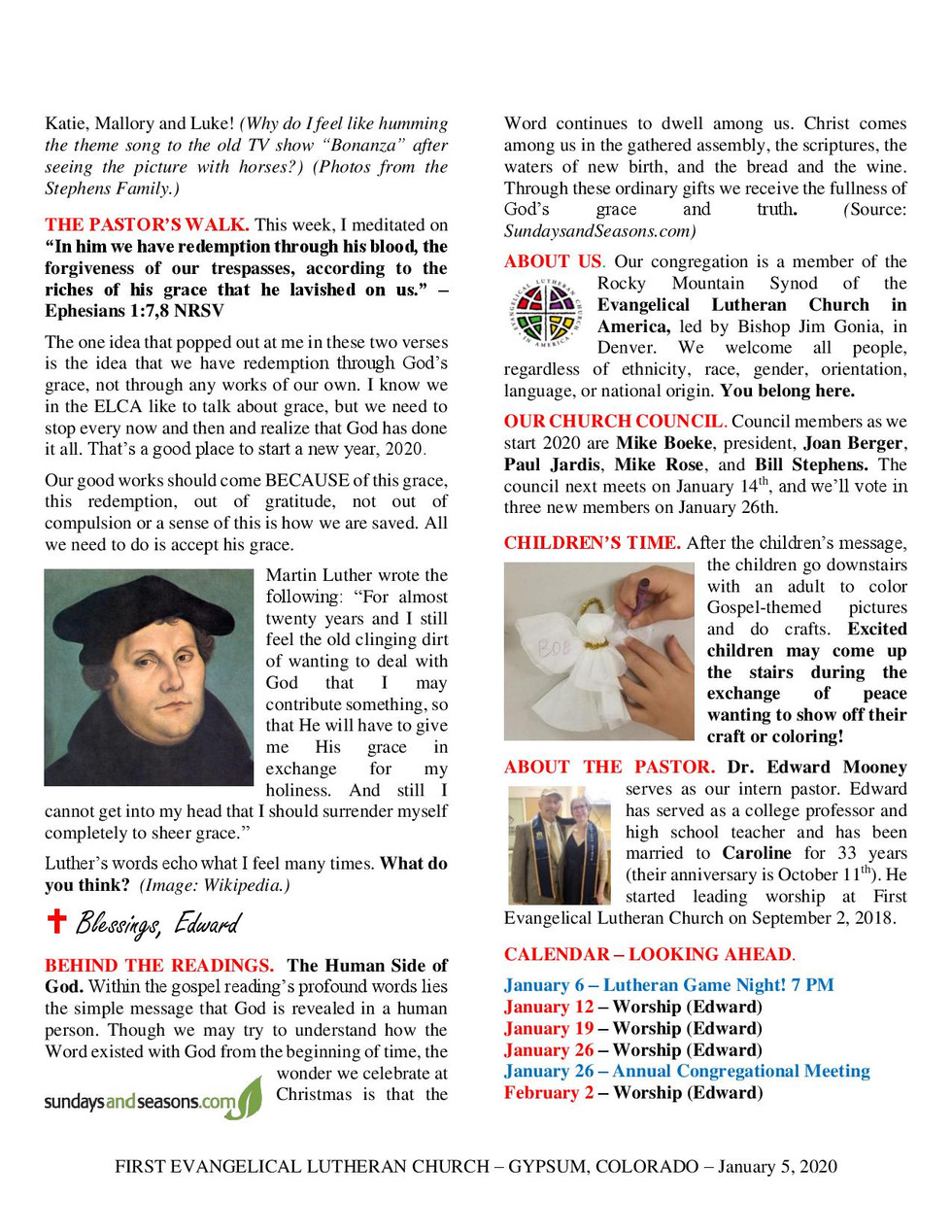 Newsletter, January 5, 2020, page 2