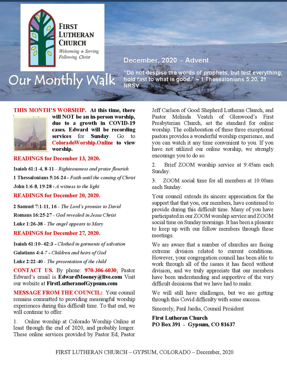 Newsletter, December, 2020, page 1
