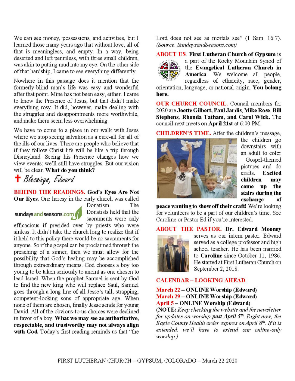 Newsletter, March 22, 2020, page 2