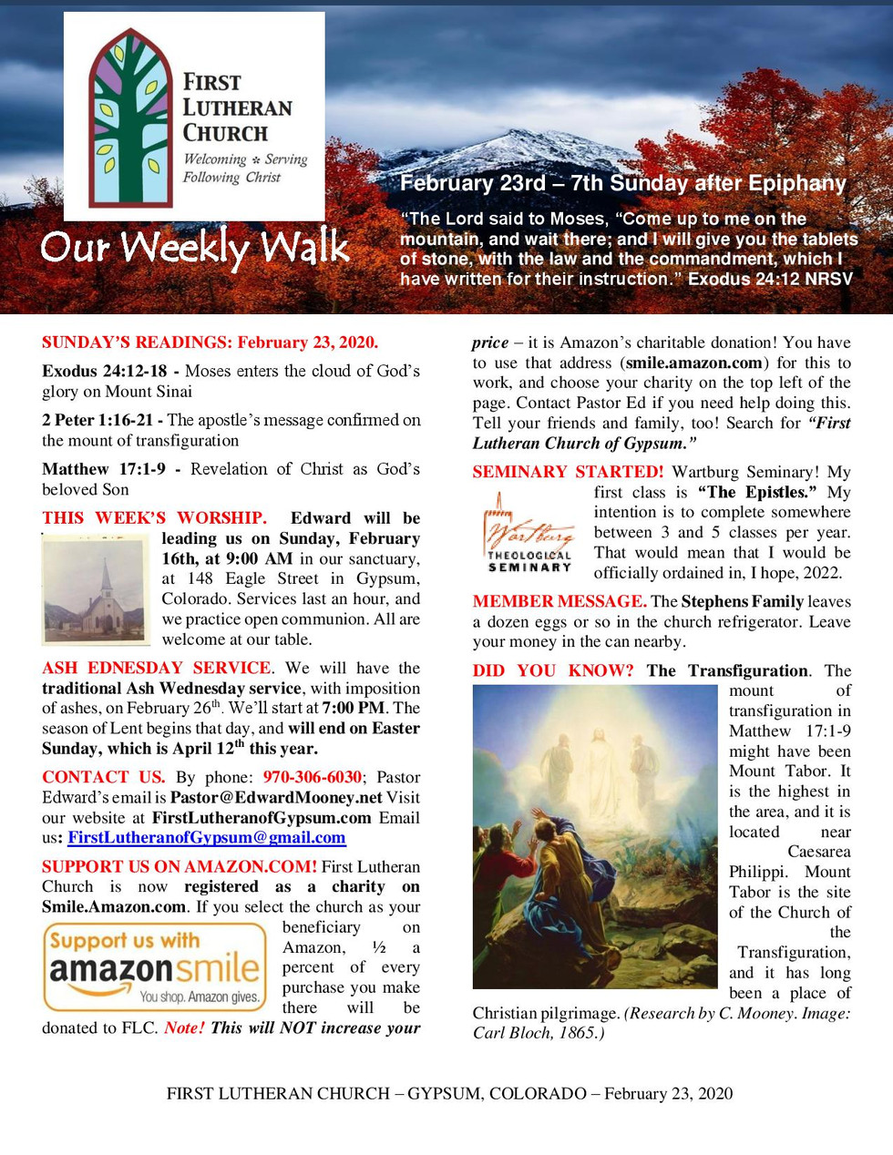 Newsletter, February 23, 2020, page 1