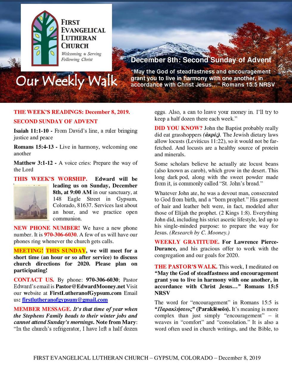 Newsletter, December 8, 2019, page 1