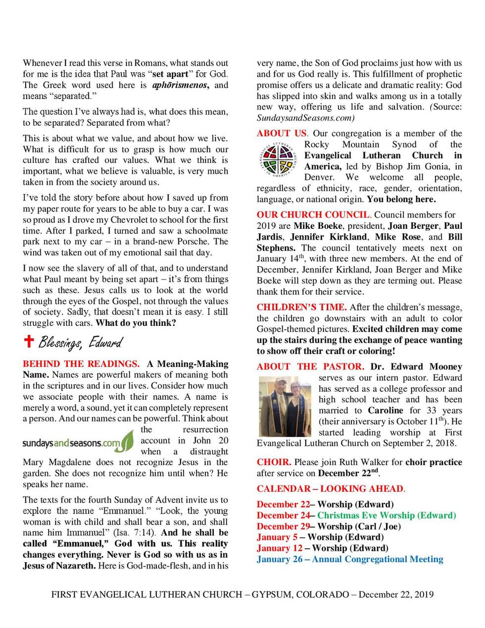 Newsletter, December 22, 2019, page 2