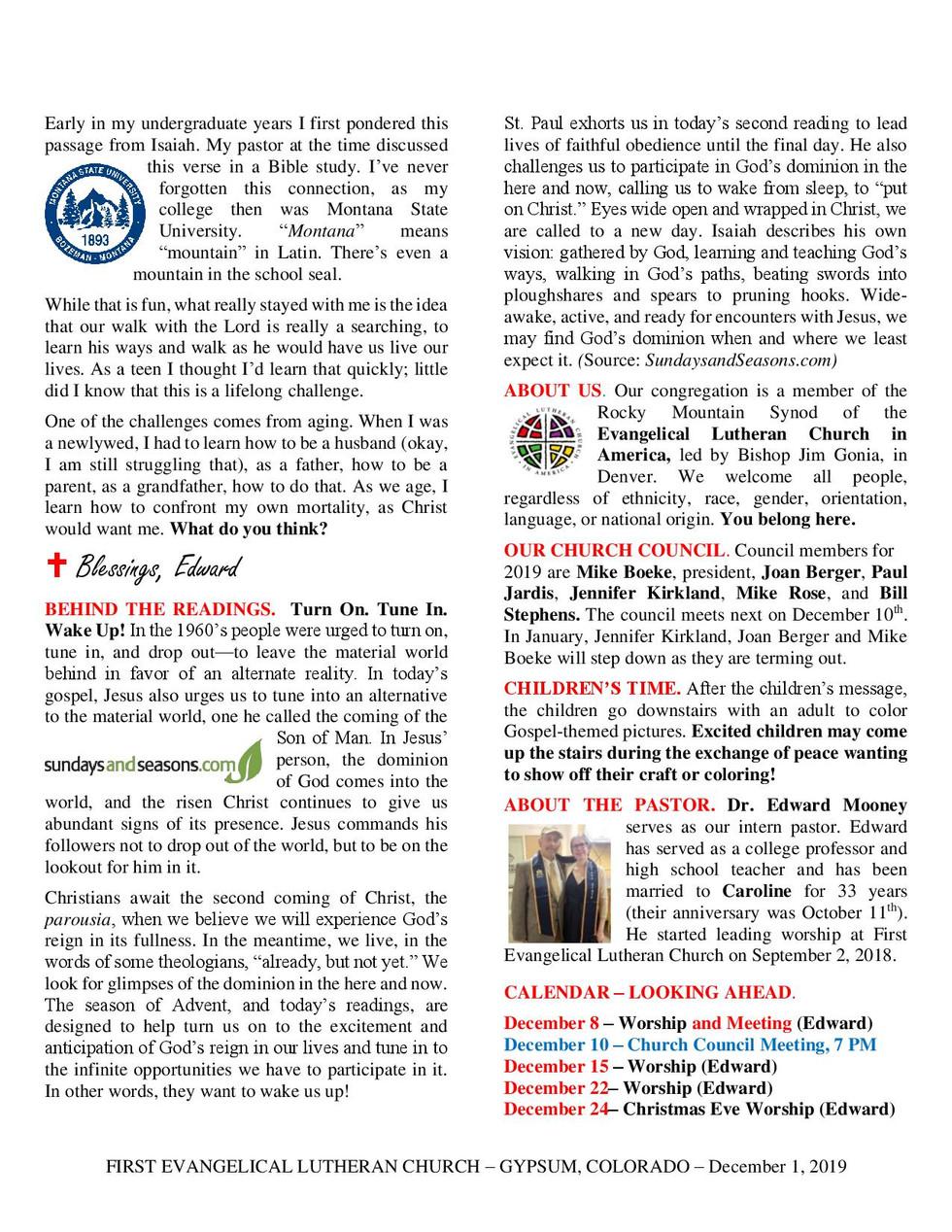 Newsletter, December 1, 2019, page 2.