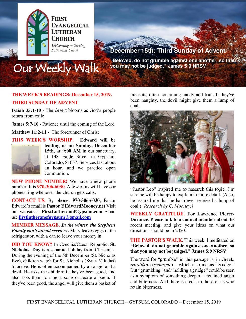 Newsletter, December 15, 2019, page 1