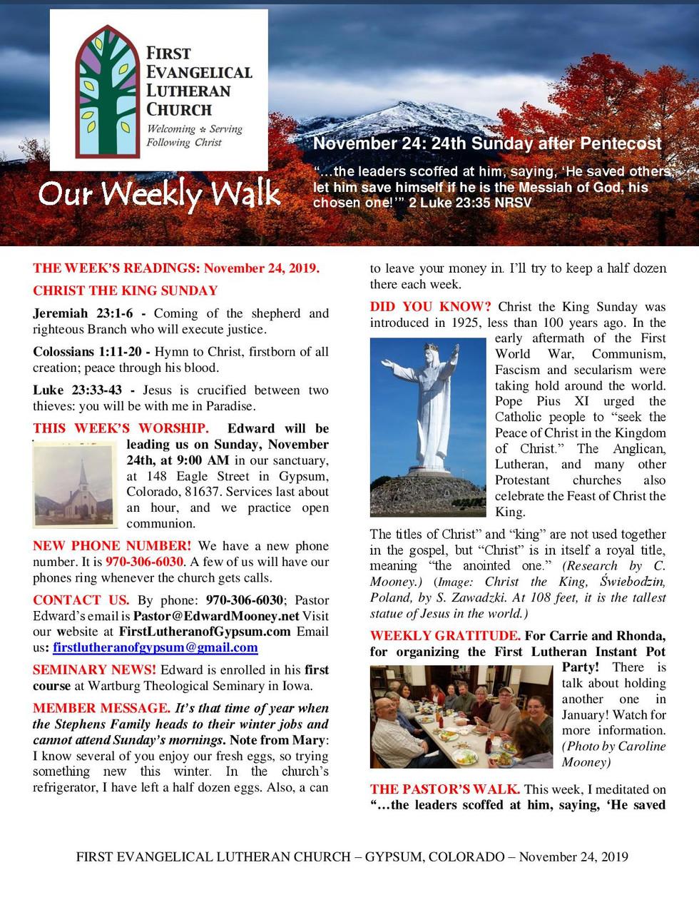 Newsletter, November 24, 2019, page 1