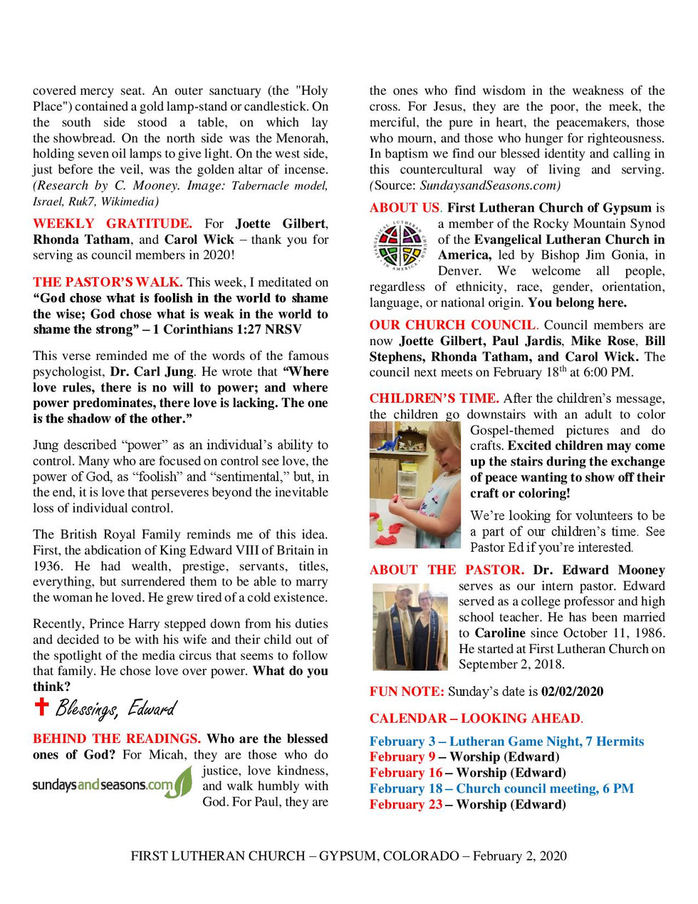 Newsletter, February 2, 2020, page 2