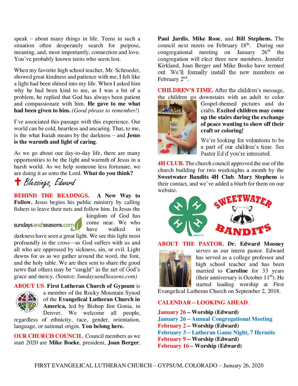 Newsletter, January 26, 2020, page 2