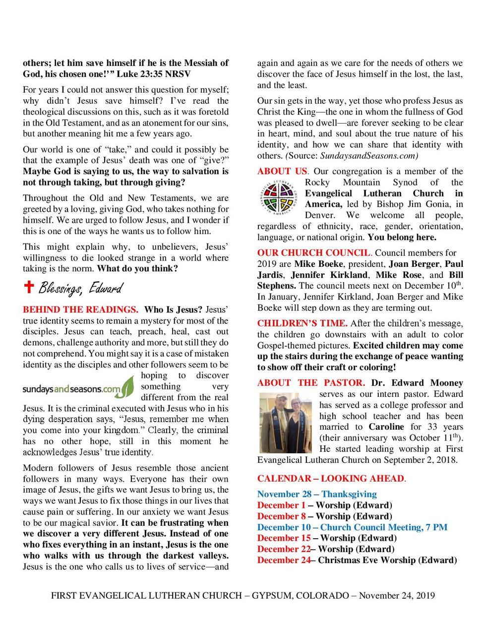 Newsletter, November 24, 2019, page 2