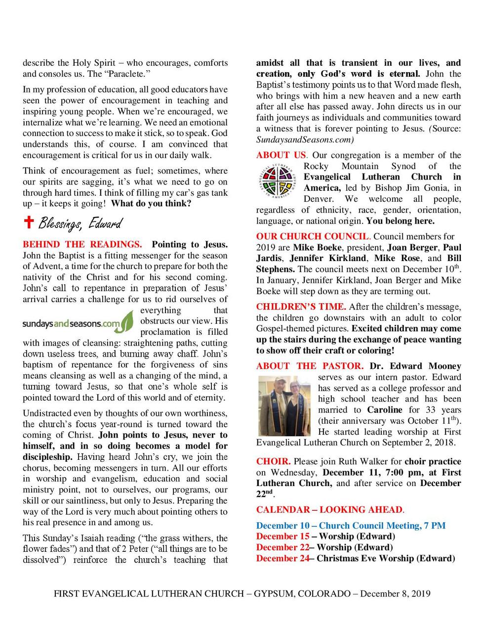 Newsletter December 8, 2019, page 2
