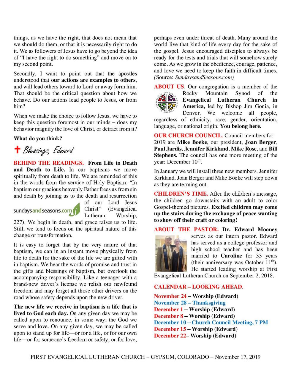 Newsletter - November 17, 2019, page 2