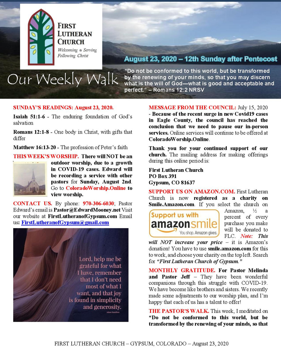 Newsletter, August 23, 2020, page 1