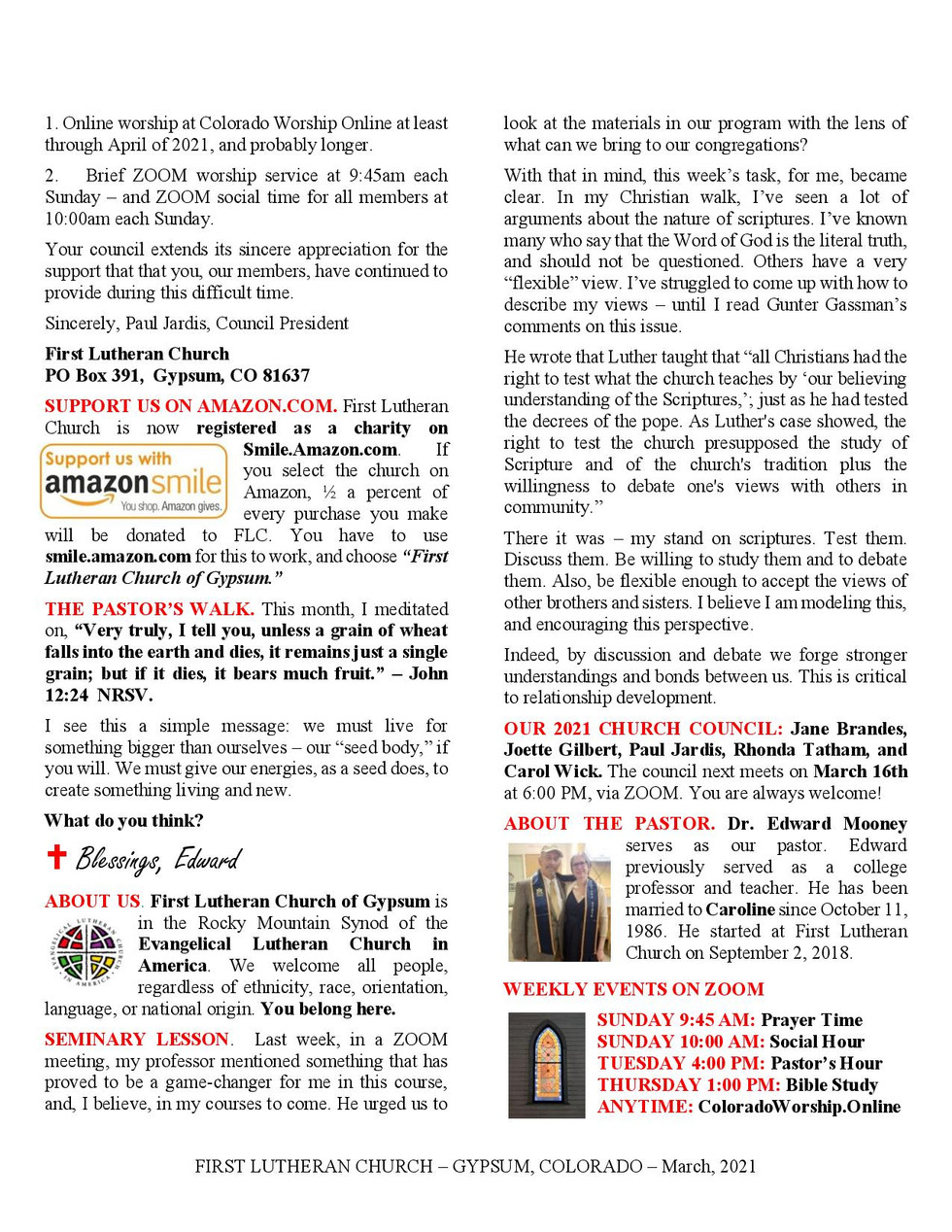 Newsletter for March, 2021. Page 2