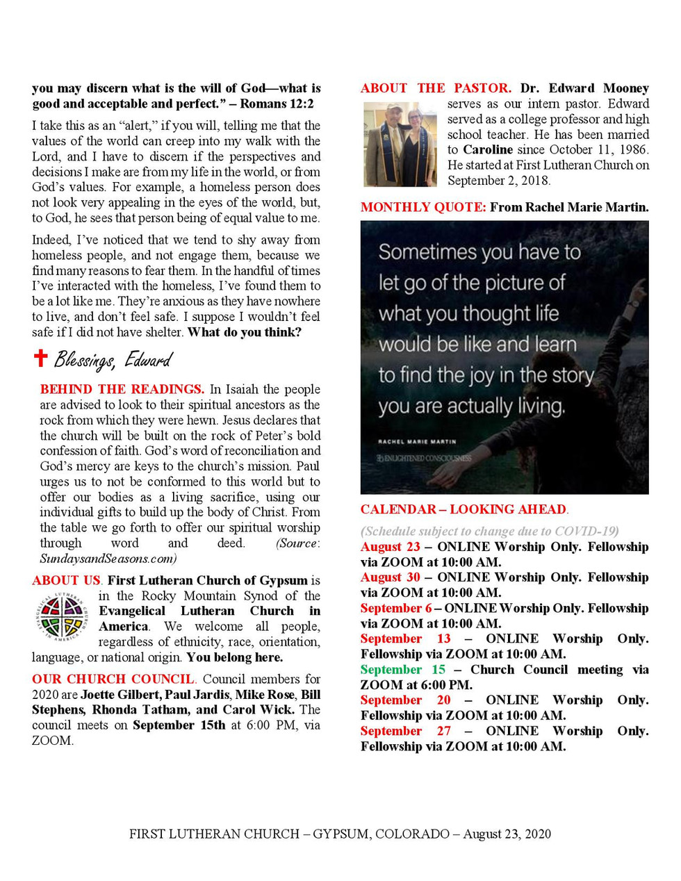 Newsletter, August 23, 2020, page 2