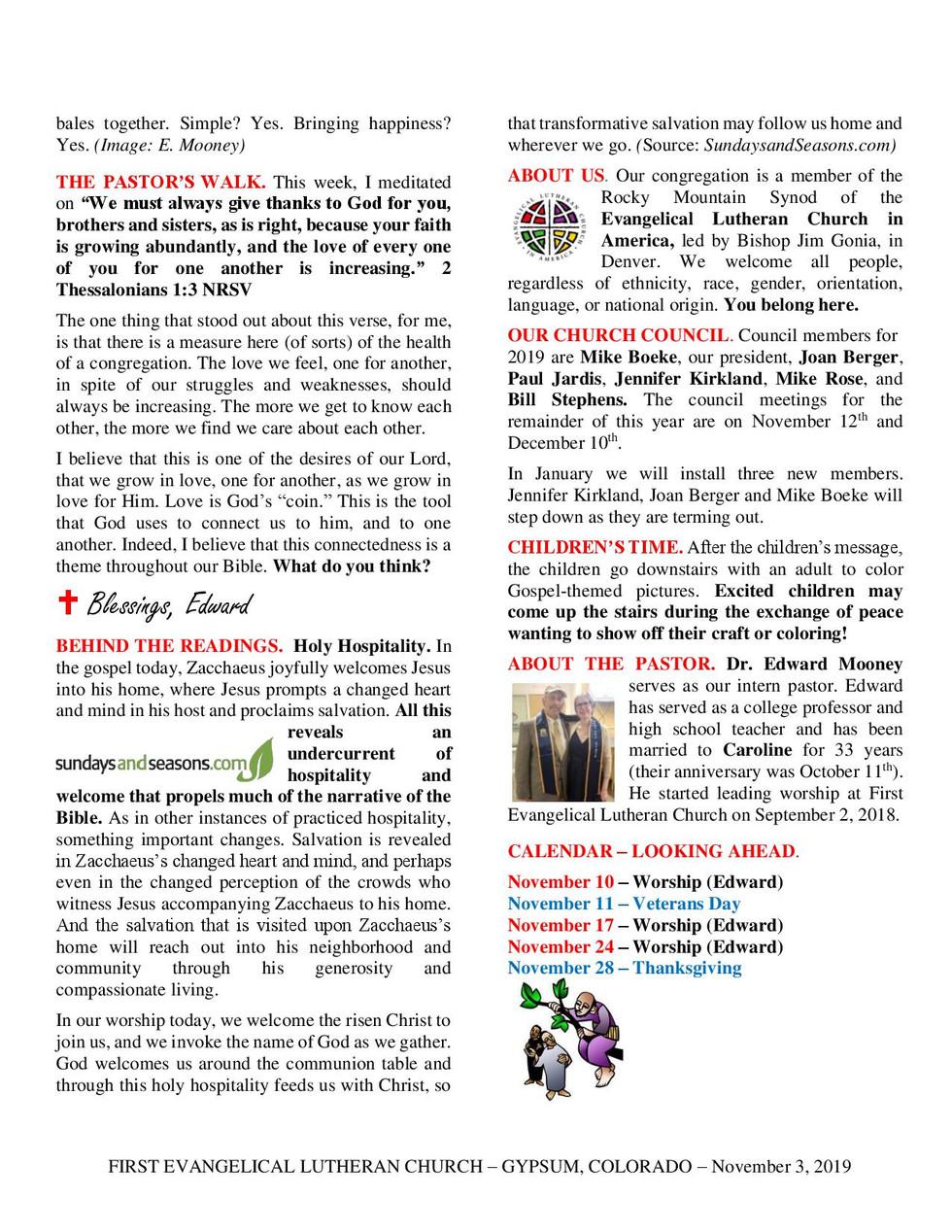 Newsletter - November 3, 2019, Page 2
