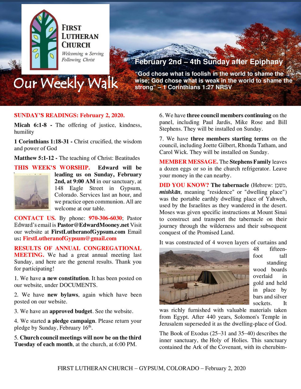 Newsletter, February 2, 2020, page 1