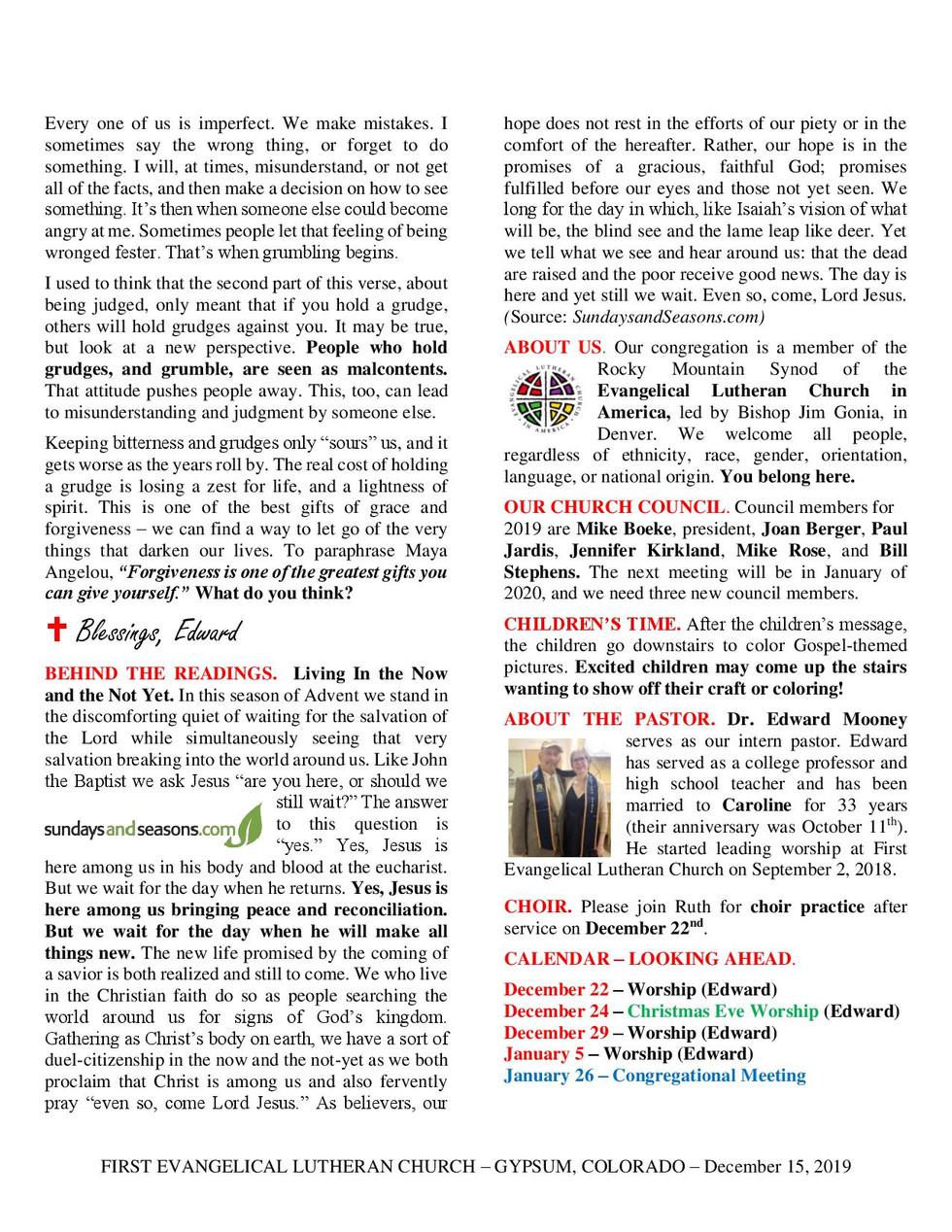 Newsletter, December 15, 2019, page 2