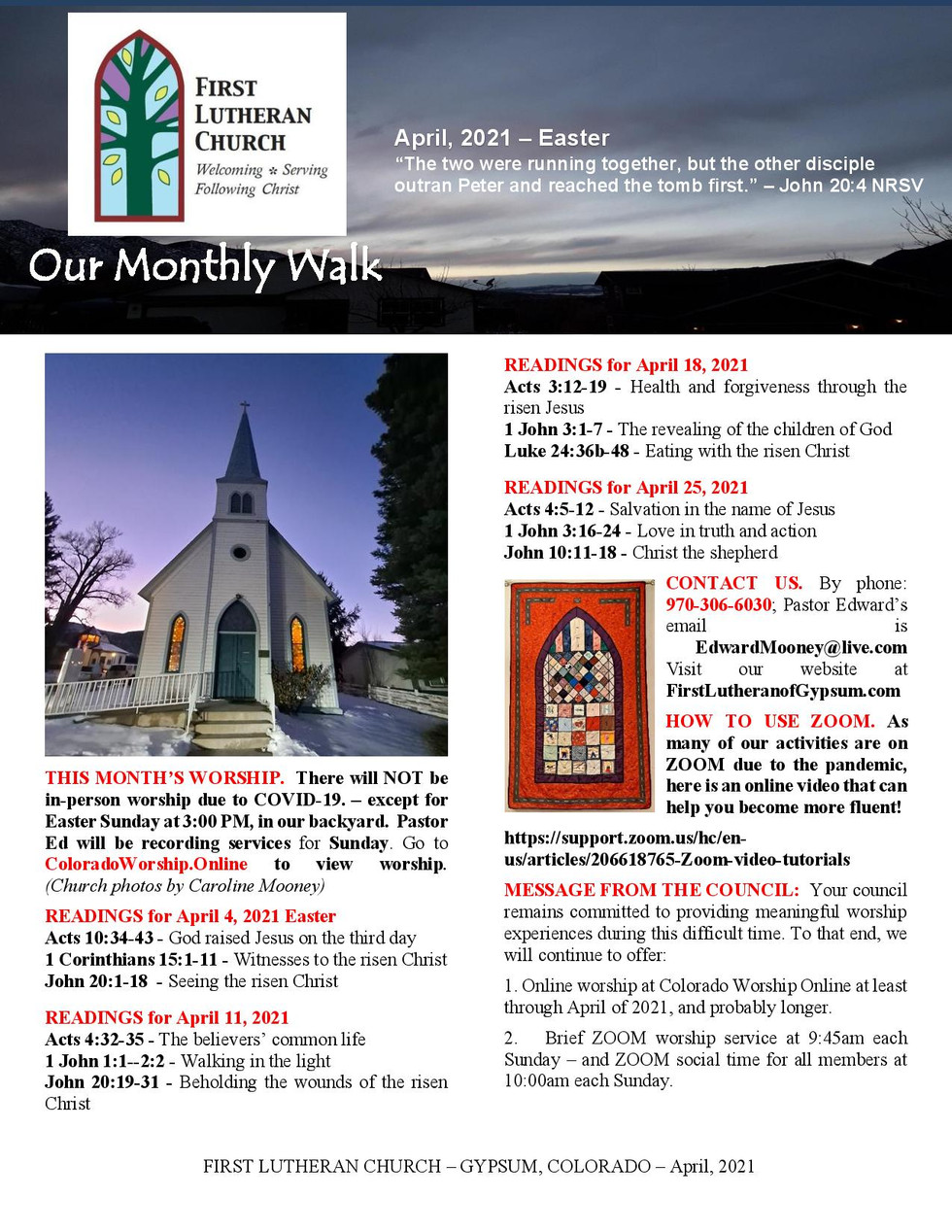 Newsletter for April, 2021. Page 1