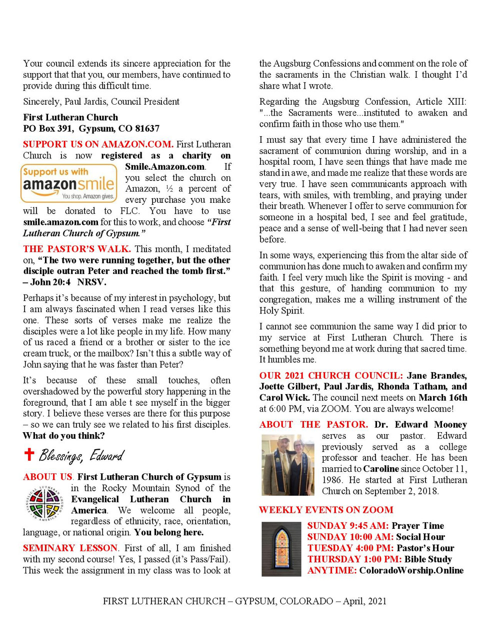 Newsletter for April, 2021. Page 2