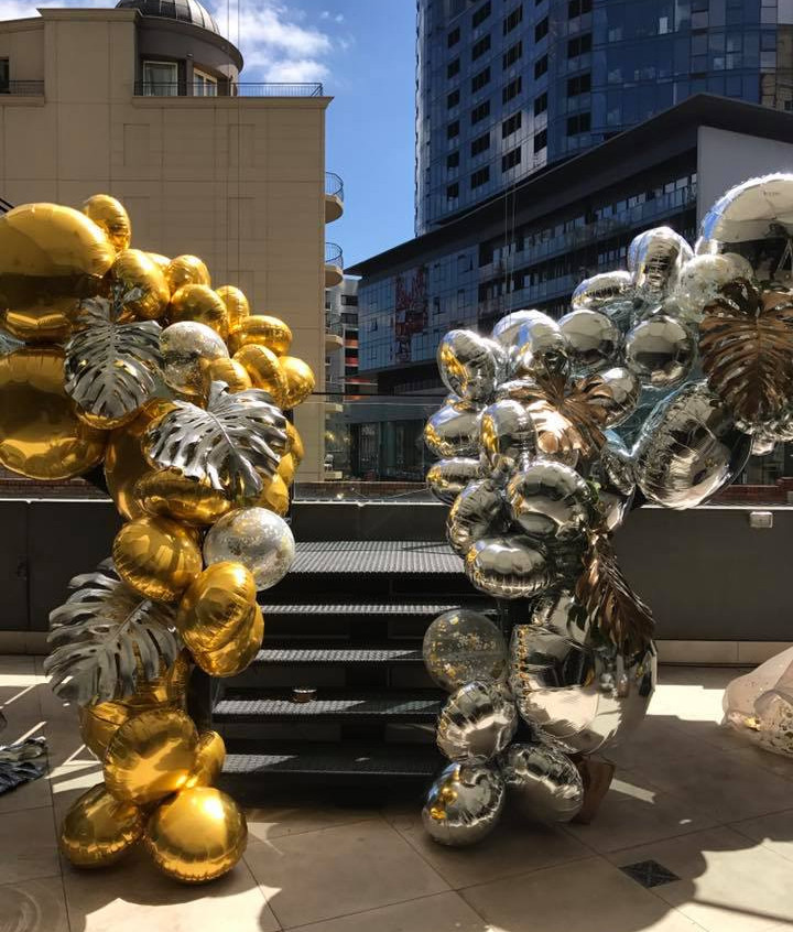 Gold and silver balloons