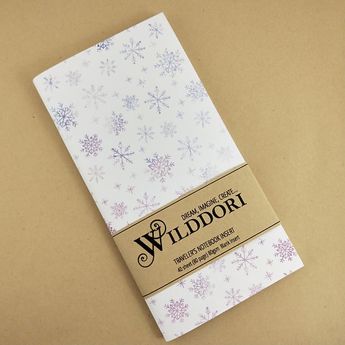 Wilddori 'Crystal Wonderland Baby Snowflake' Blank Regular Traveler's Notebo