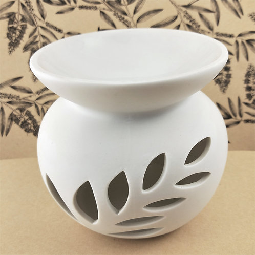 Luminous Spa White Fern Porcelain Oil Burner