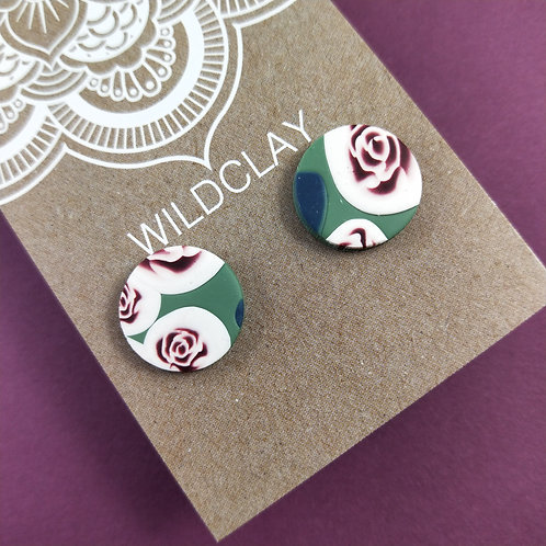 Wildclay Rose Garden Stud Polymer Clay Earring