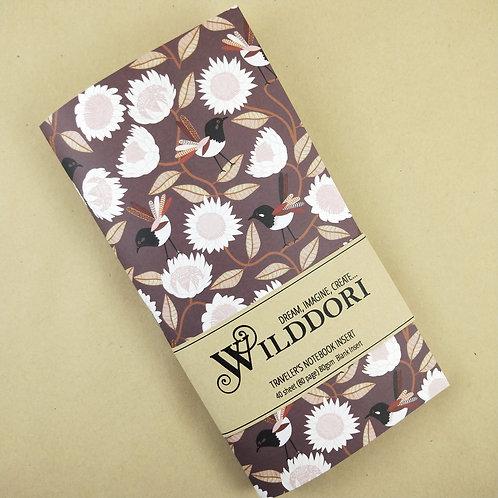 Wilddori 'Australian Florals Bird' Blank Regular Traveler's Note