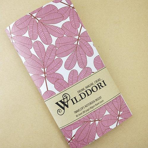 Wilddori 'Pink Leaf' Blank Regular Traveler's Notebook Insert