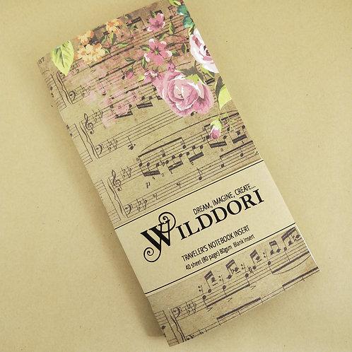 Wilddori 'Vintage Musical Rose' Blank Regular Traveler's Notebook