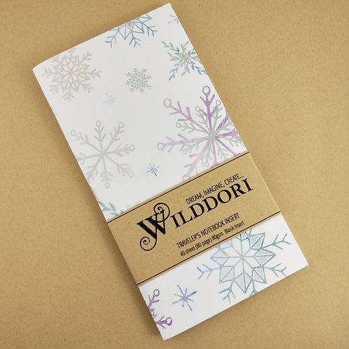 Wilddori 'Crystal Wonderland Snowflakes' Blank Regular Traveler's Notebook
