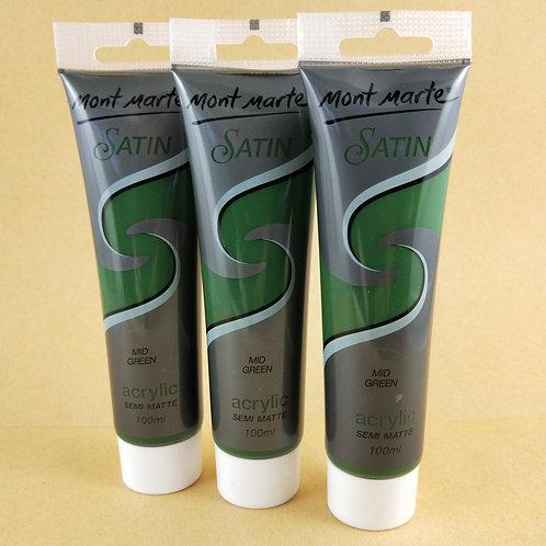 Mont Marte Satin Acrylic Paint 100ml - Mid Green