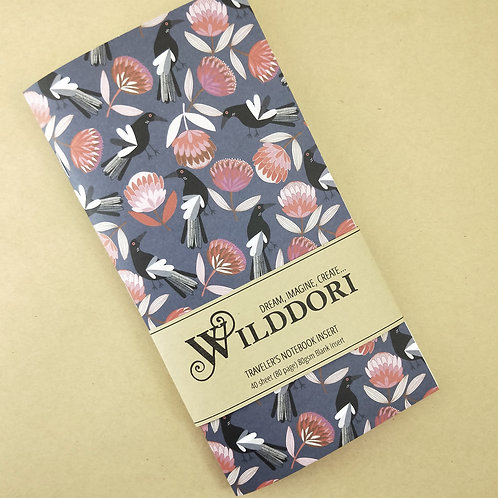 Wilddori 'Magpie and Protea' Blank Regular Traveler's Notebook Insert