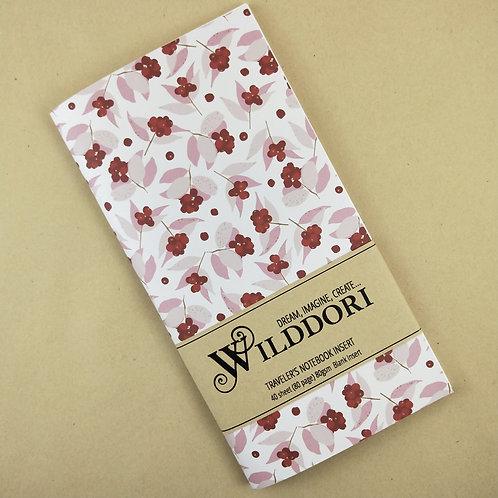 Wilddori 'Australian Florals Red Berry ' Blank Regular Traveler's Notebook