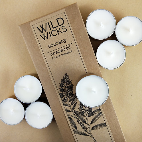 Wild Wicks Cocosoy Unscented Tealights Pack of 10