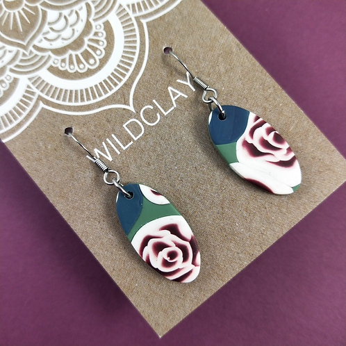 Wildclay Rose Garden Dangle Polymer Clay Earring