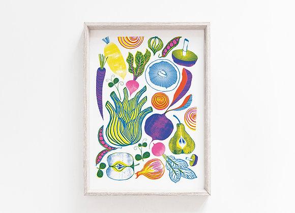Roots, Fruits & Shoots A4 Art Print