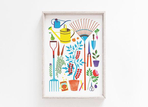 Garden Tools A4 Art Print