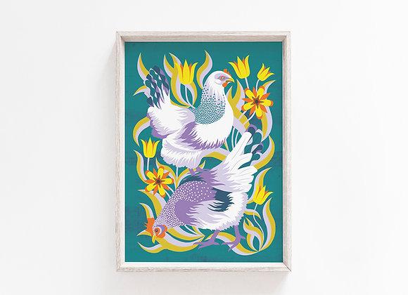 Hens A4 Art Print