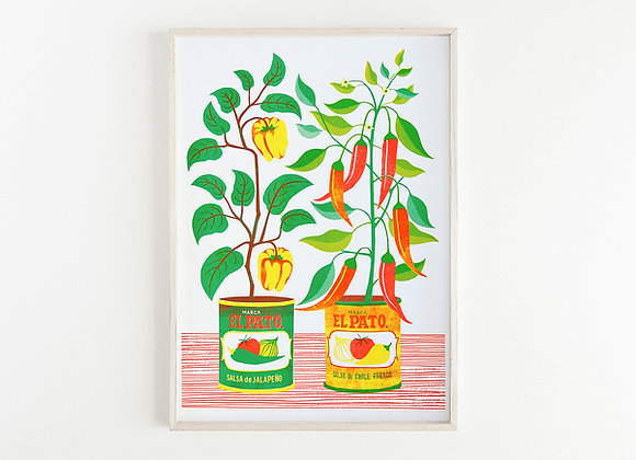 Chilli Peppers A3 Risograph Print