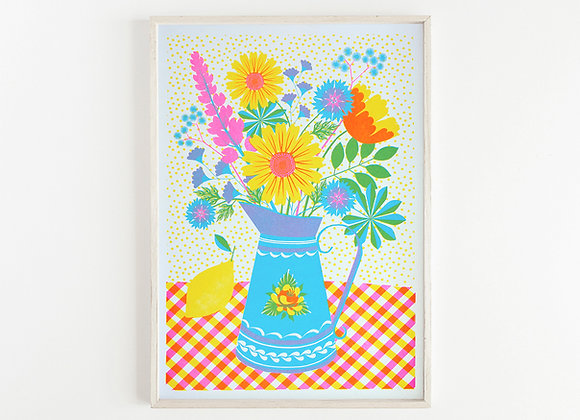 Summer Blooms A3 Risograph Print