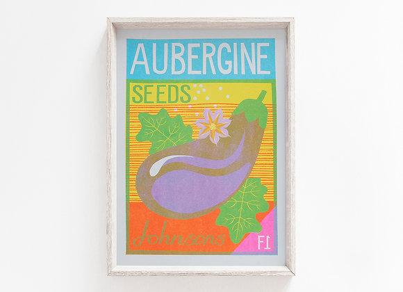 Aubergine A4 Risograph Print