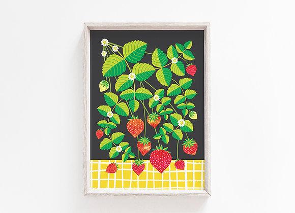 Strawberry Plant A4 Art Print