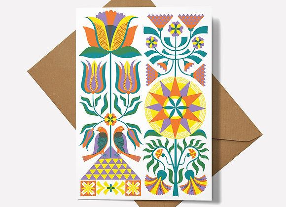 Fraktur Floral Card