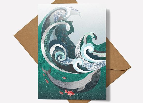 Whale & Wave Card