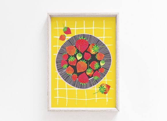 Strawberry Bowl A4 Art Print