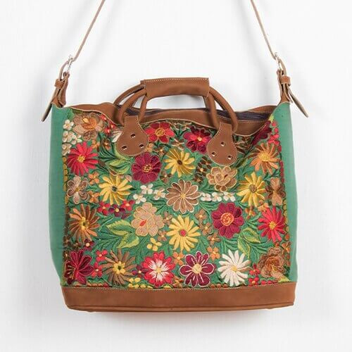 Embroidered Leather Suitcase - $199