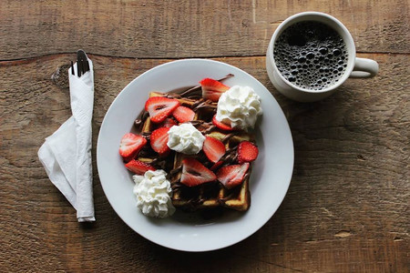 Crickets Coffee Co. Nutella Strawberry Waffles