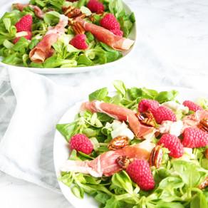 Salade met frambozen en blue de auvergne